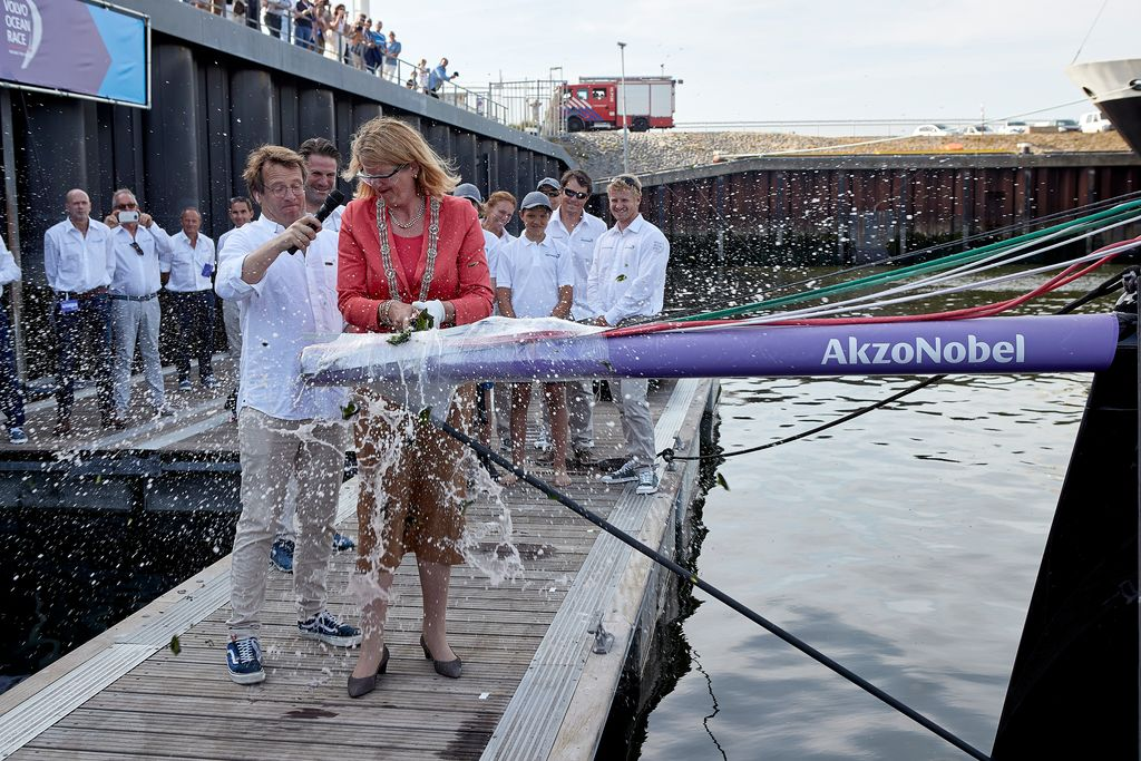 Team AkzoNobel's Volvo Ocean Race boat christened in The Hague